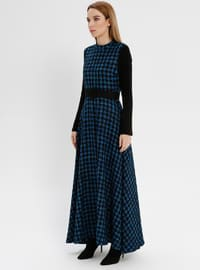 Blue - Black - Houndstooth - Polo neck - Unlined - Acrylic - Dresses