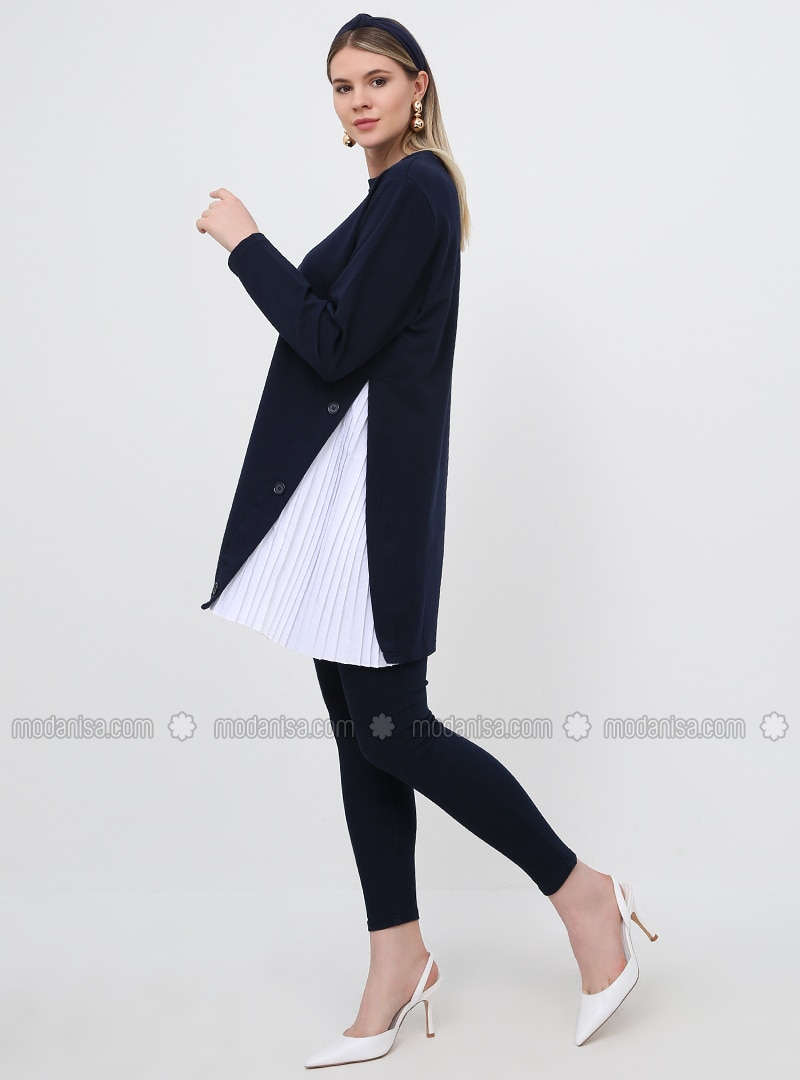 Navy Blue - Crew neck - Cotton - Plus Size Tunic
