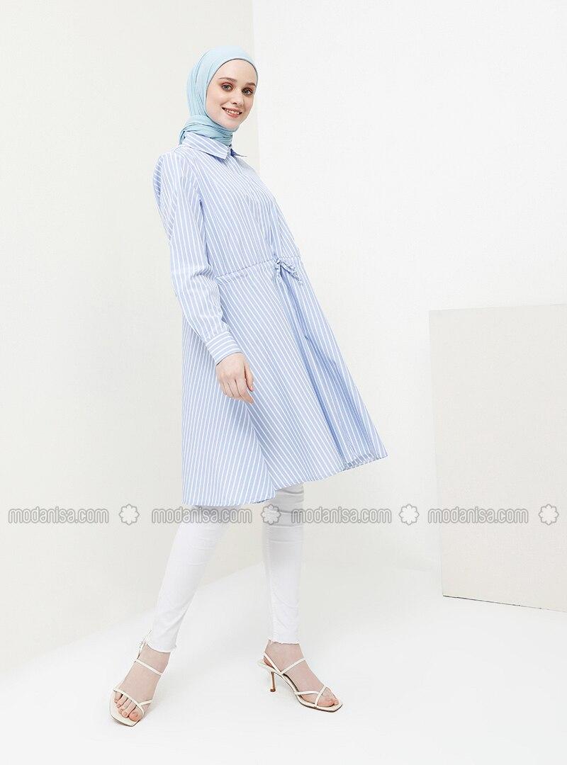 Blue - Stripe - Point Collar - Cotton - Tunic