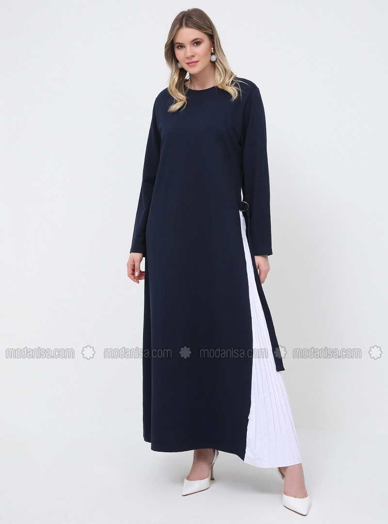 White - Navy Blue - Unlined - Crew neck - Cotton - Plus Size Dress