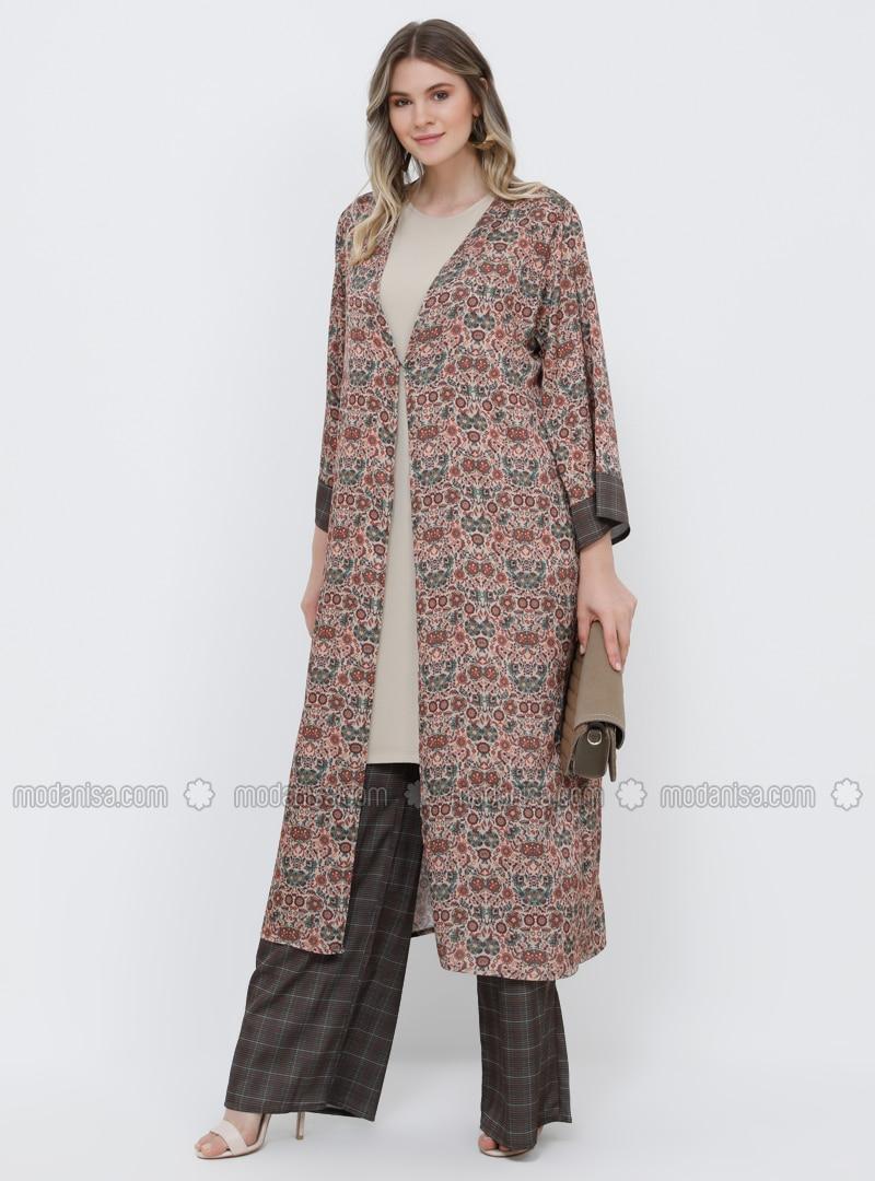 Brown - Multi - Unlined - Plus Size Coat
