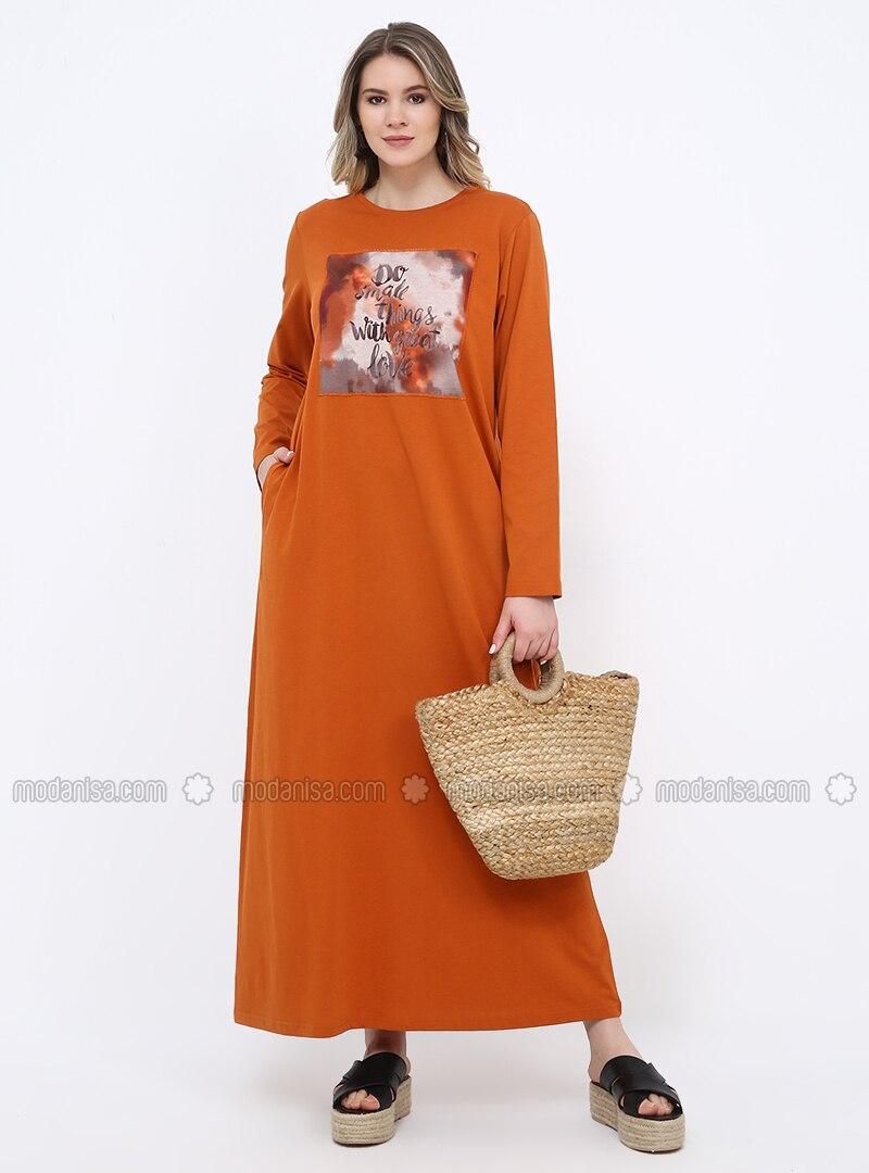 - Unlined - Crew neck - Cotton - Plus Size Dress