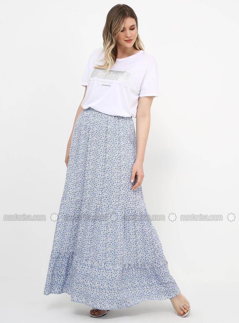 Blue - Floral - Unlined - Viscose - Plus Size Skirt