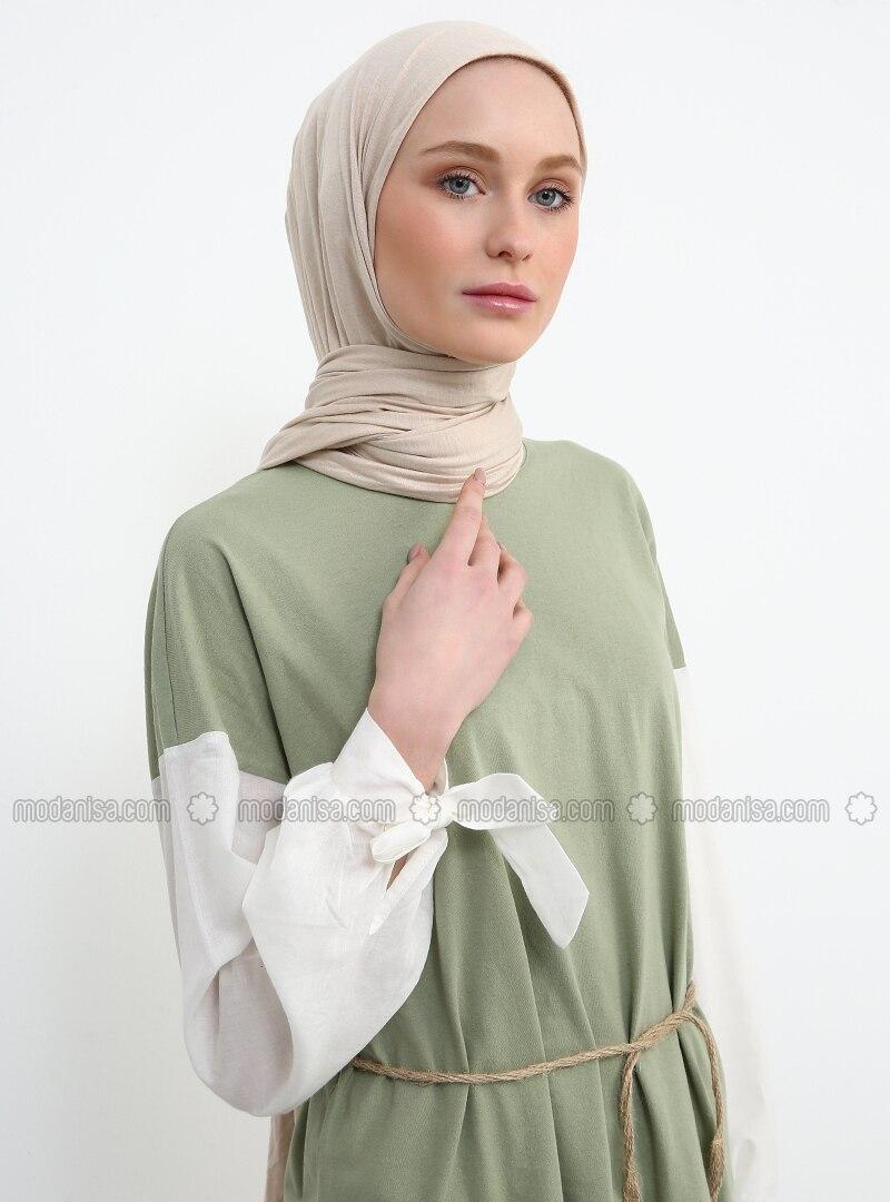 Green - Crew neck - Cotton - Tunic