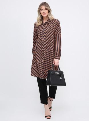 Multi - Stripe - Point Collar - Plus Size Tunic
