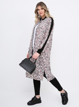 Multi - Multi - Unlined - Crew neck - Chiffon - Plus Size Coat