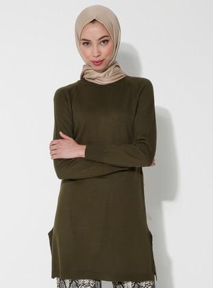 Khaki - Polo neck - Acrylic -  - Tunic