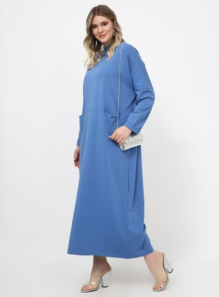 Indigo - Unlined - Polo neck - Cotton - Plus Size Dress