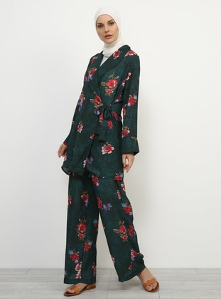Green - Floral - Unlined - Shawl Collar - Topcoat