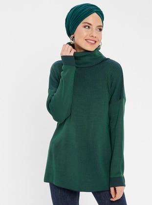 Green - Stripe - Polo neck - Acrylic -  - Tunic