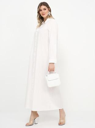 White - Ecru - Unlined - Point Collar - Cotton - Plus Size Dress