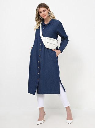 Blue - Unlined - Point Collar - Cotton - Denim - Plus Size Tunic