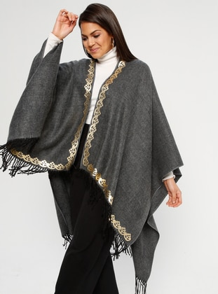 Anthracite - Multi - Unlined - Acrylic - Poncho