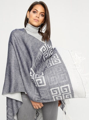 Gray - Multi - Unlined - Acrylic - Poncho