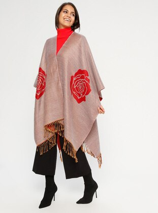 Red - Beige - Multi - Unlined - Acrylic - Poncho