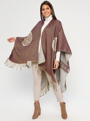 Dusty Rose - Multi - Unlined - Acrylic - Poncho