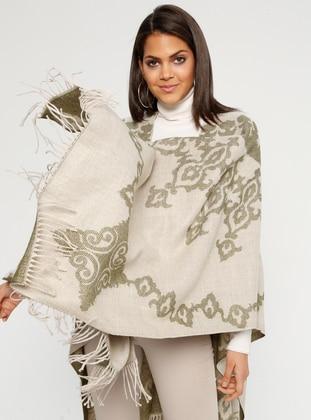 Khaki - Multi - Unlined - Acrylic - Poncho - GINA LOREN