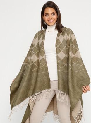 Khaki - Multi - Unlined - Acrylic - Poncho