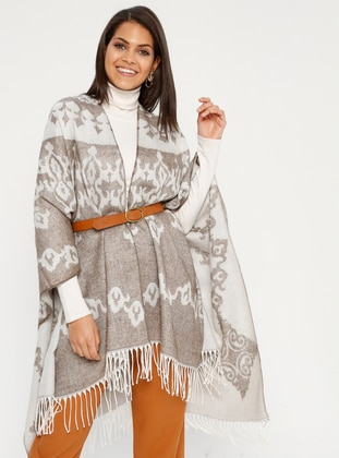 Brown - Multi - Unlined - Acrylic - Poncho
