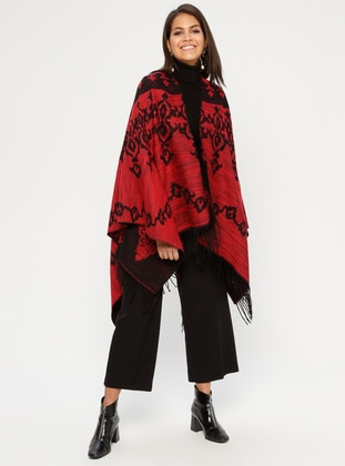 Red - Multi - Unlined - Acrylic - Poncho - GINA LOREN