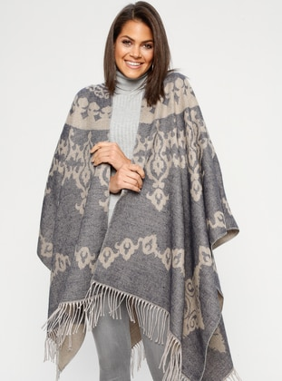 Navy Blue - Multi - Unlined - Acrylic - Poncho - GINA LOREN