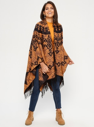Navy Blue - Multi - Unlined - Acrylic - Poncho