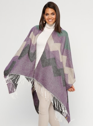Purple - Multi - Unlined - Acrylic - Poncho - GINA LOREN