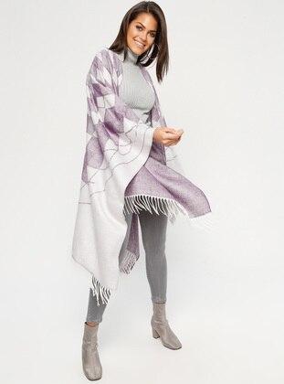 Purple - Multi - Unlined - Acrylic - Poncho