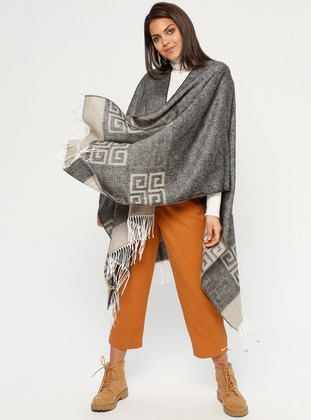 Black - Multi - Unlined - Acrylic - Poncho