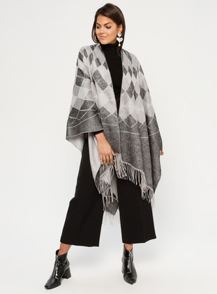 Black - Multi - Unlined - Acrylic - Poncho - GINA LOREN