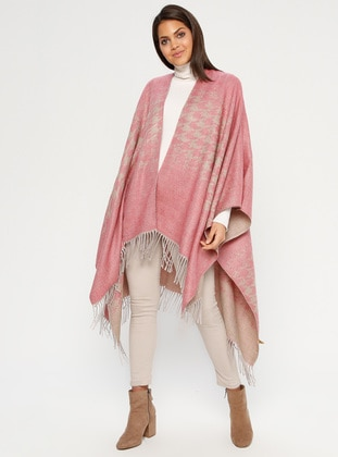 Salmon - Multi - Unlined - Acrylic - Poncho