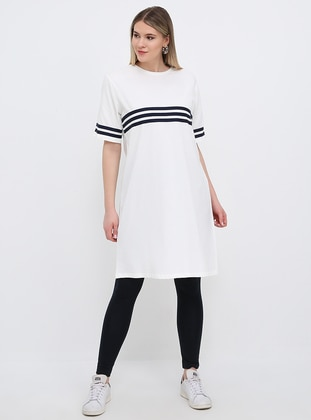 White - Ecru - Stripe - Crew neck - Cotton - Plus Size Tunic