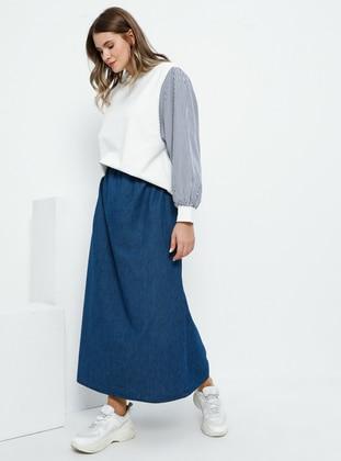Blue - Unlined - Cotton - Denim - Plus Size Skirt - Alia