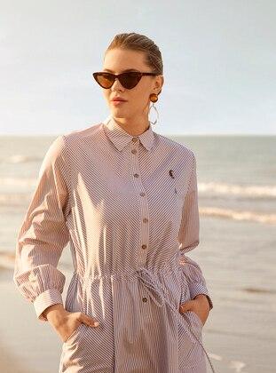 9c7371f12f8 White - Minc - Stripe - Unlined - Point Collar - Cotton - Plus Size Dress