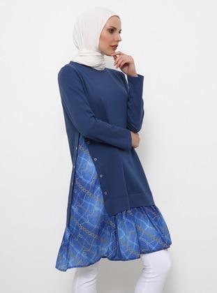 Blue - Navy Blue - Indigo - Multi - Crew neck - Cotton - Tunic