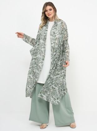 Green - Multi - Plus Size Coat