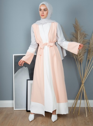 Salmon - Shawl Collar - Abaya