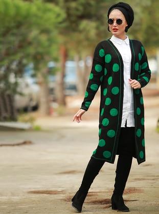 Green - Polka Dot - V neck Collar - Cardigan