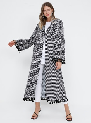 Black - White - Multi - Unlined - V neck Collar - Plus Size Coat - Alia