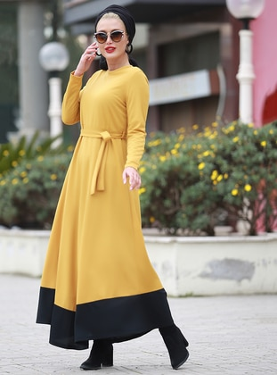 Mustard - Crew neck - Unlined - Dresses