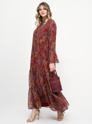 Maroon - Shawl - Fully Lined - Crew neck - Plus Size Dress - Alia