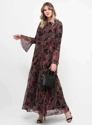 Black - Shawl - Fully Lined - Crew neck - Plus Size Dress - Alia
