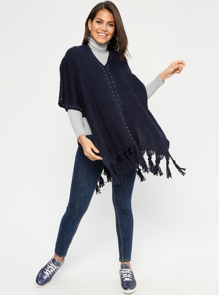 Navy Blue - V neck Collar - Unlined - Acrylic -  - Poncho