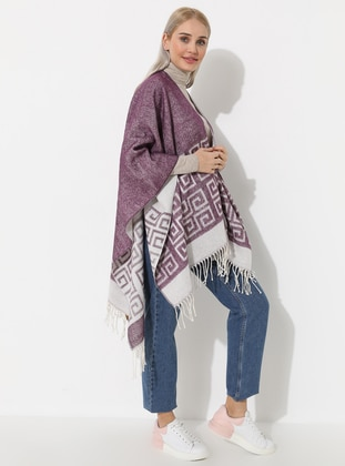 Pink - Multi - Unlined - Acrylic - Poncho