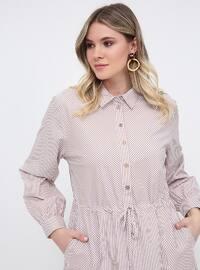 White - Minc - Stripe - Unlined - Point Collar - Cotton - Plus Size Dress
