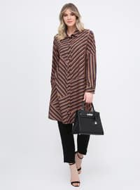 Multi - Stripe - Point Collar - Plus Size Tunic