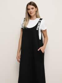 Black - Black - Unlined - Plus Size Dress