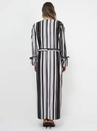 Black - White - Stripe - Unlined - Crew neck - Plus Size Dress