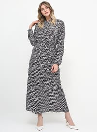 White - Stripe - Unlined - Button Collar - Plus Size Dress