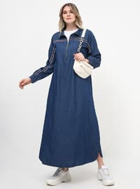 Blue - Unlined - Polo neck - Cotton - Plus Size Dress